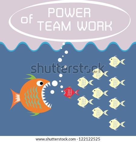 Illustration Many Little Fish Fight Big Stock Vector 122122525