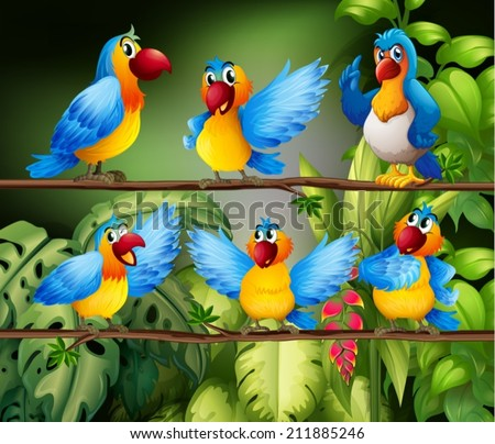 Illustration of many parrots in the jungle - stock vector