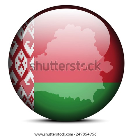 Illustration of  Map on flag button of Republic of Belarus - stock vector