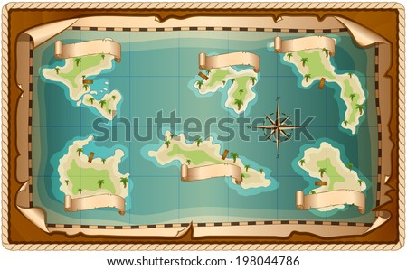 Illustration of map with islands - stock vector