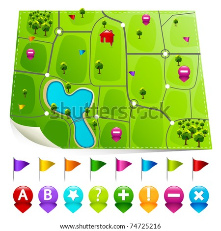 illustration of map with set of gps indicator button - stock vector