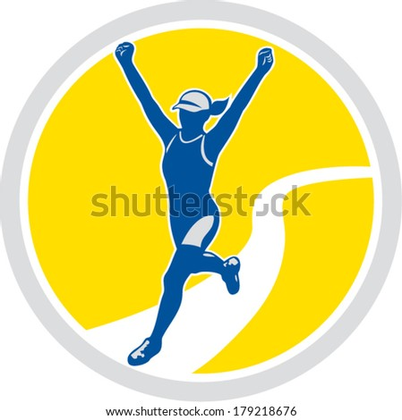Illustration of marathon triathlete runner running arms raised winning finishing race set inside circle on isolated background done in retro style.