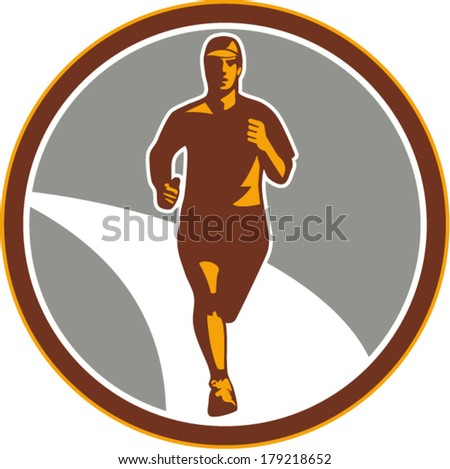 Illustration of marathon triathlete runner running facing front view set inside circle on isolated done in retro style. - stock vector