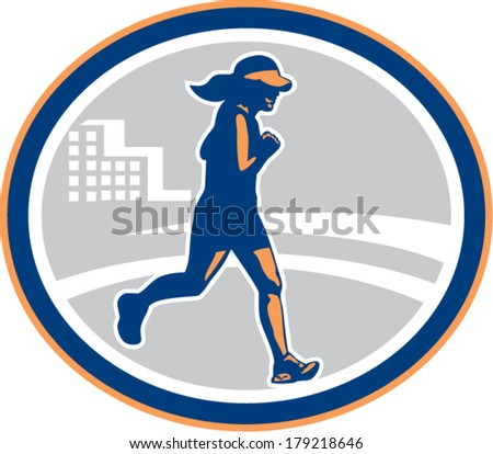 Illustration of marathon triathlete runner running race viewed from side set inside circle with building on isolated background done in retro style. - stock vector