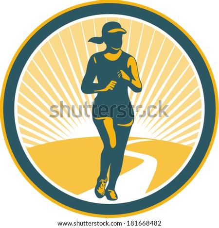 Illustration of marathon triathlete runner running winning finishing race viewed from front set inside circle on isolated background done in retro style. - stock vector