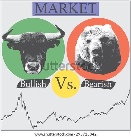Illustration of market that presented in Bullish vs bearish - stock vector
