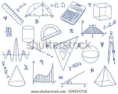 Illustration mathematics school supplies geometric shapes stock illustration of mathematics school supplies geometric shapes and expressions math icon symbols ccuart Gallery