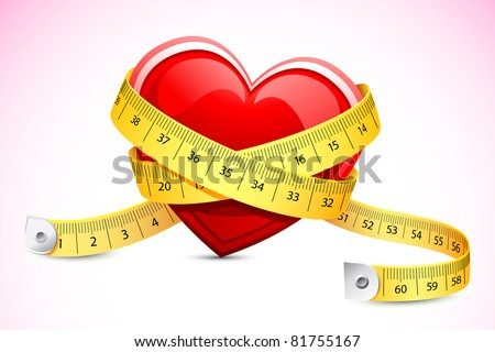 illustration of measuring tape around heart - stock vector