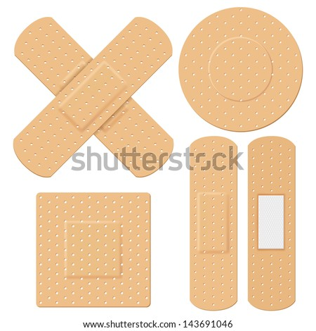illustration of medical bandage in different shape - stock vector