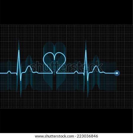 Illustration of medical electrocardiogram - ECG on grid, graph of heart rhythm on black background, 2d illustration, vector, eps 10 - stock vector