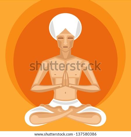 Illustration of meditating yogi in lotus position on orange background - stock vector