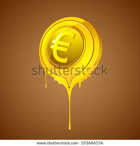 illustration of melting euro coin on abstract background - stock vector