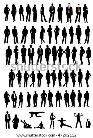 Illustration of men and women shapes - stock vector