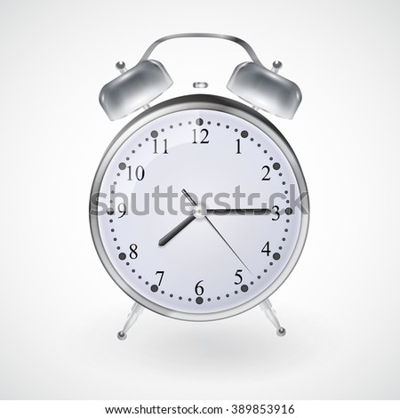 Illustration of Metal alarm clock on isolated white background. Vector. EPS 10 - stock vector