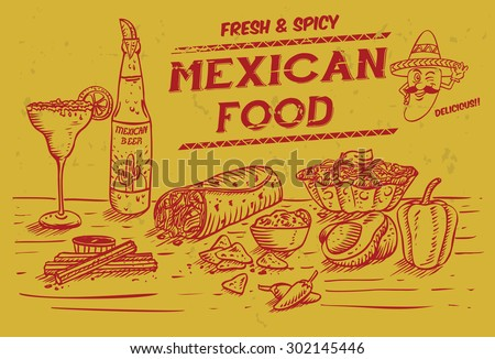 Illustration of Mexican food and drinks, vector - stock vector