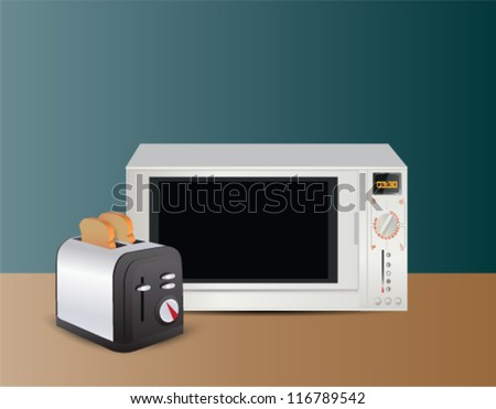 Illustration of microwave and toaster on table - stock vector