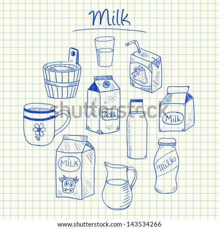 Illustration of milk ink doodles on squared paper - stock vector