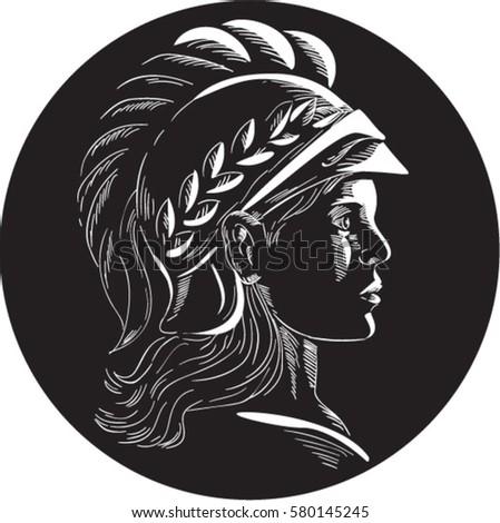illustration minerva menrva roman goddess wisdom stock vector