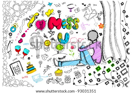 illustration of miss you card in colorful doodle style - stock vector