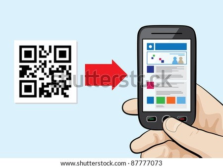 Illustration of mobile phone in the male hand scanning qr code with website hyperlink inside. - stock vector