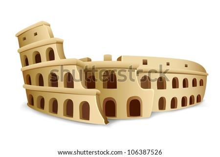 illustration of model on Roman Colosseum on white background - stock vector