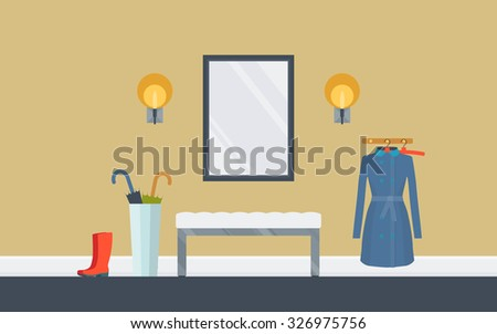 Illustration of modern hallway with banquette, mirror. Creative concept interior with classic furniture . Flat design, minimalist style. Vector illustrator - 10 EPS - for your project  - stock vector