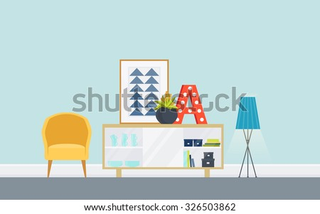 Illustration of modern living room with sideboard, chair. Lounge concept interior with classic furniture . Flat design, minimalist style. Vector illustrator - 10 EPS - for your project - stock vector