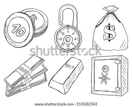 Illustration of money and safe  - hand drawn style - stock vector