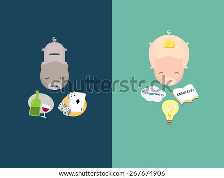 illustration of money compare, pig story, vector - stock vector