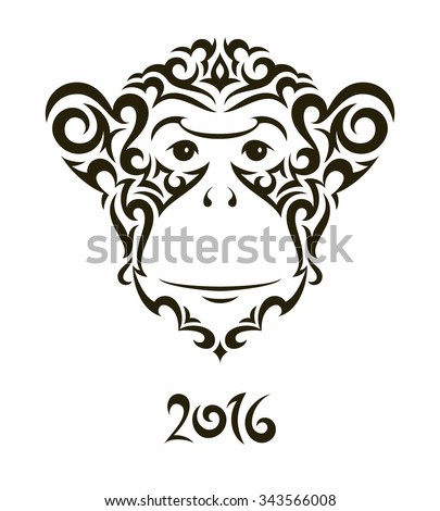 Illustration Monkey Symbol New Year 2016 Stock Vector Royalty Free