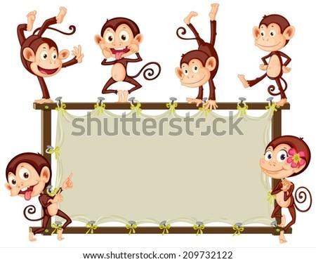 Illustration of monkeys around a banner - stock vector