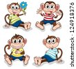 Illustration of monkeys with different facial expressions on a white background - stock vector