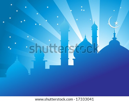 illustration of mosques in over bright night sky Islamic Series - stock vector