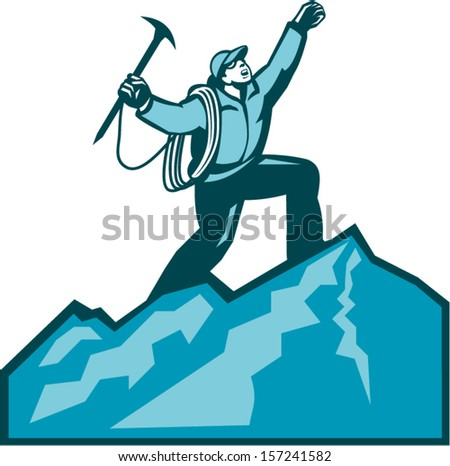 Illustration of mountain climber climbing reaching the summit celebrating holding ice axe done in retro woodcut style. - stock vector