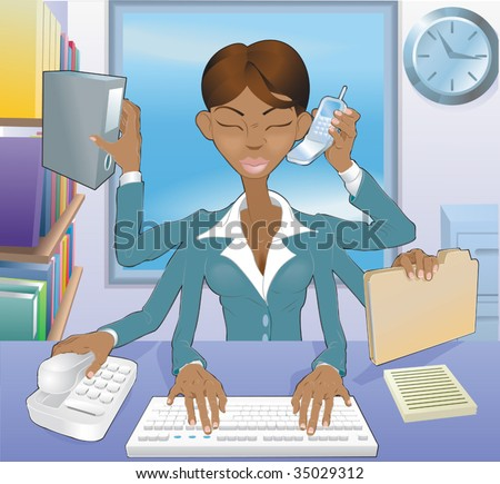 Illustration of multi-tasking black business woman in office environment - stock vector