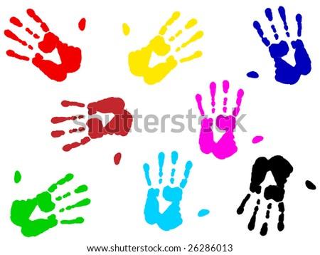 illustration of multicolored hand print over white - stock vector