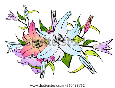 Illustration of Multicolored Lily Flower Bouquet Over White - stock vector