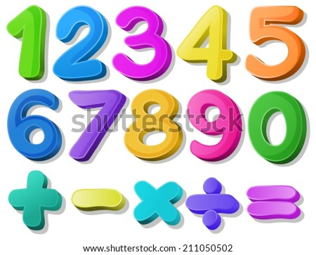 Illustration of multicolored number - stock vector