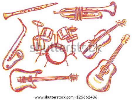 Illustration of music instruments - doodle drawings on white background - stock vector