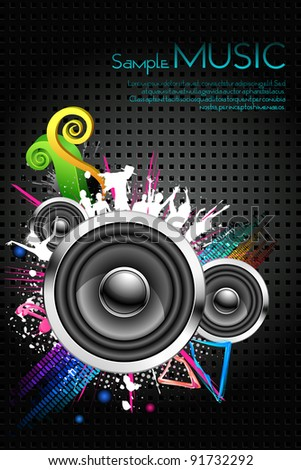 illustration of musical background with cheering crowd - stock vector