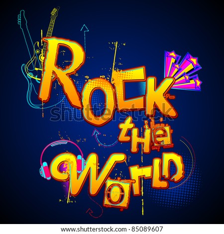 illustration of musical background with text rock the world - stock vector