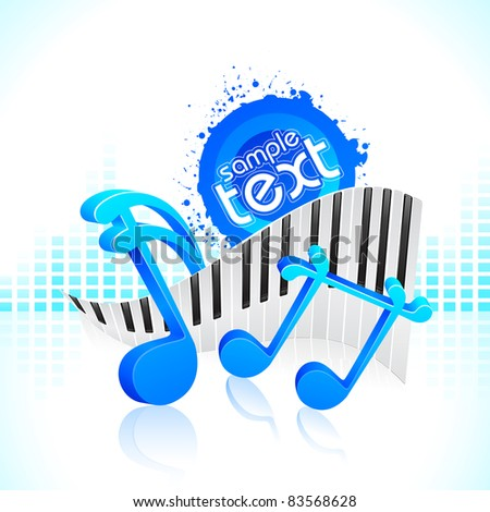 illustration of musical note with piano keypad - stock vector