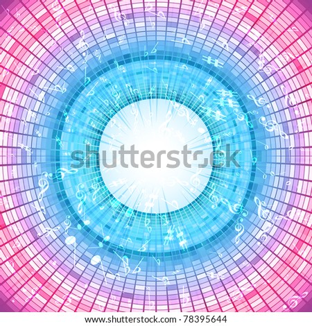 illustration of musical notes flowing on disco background - stock vector