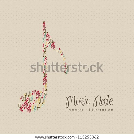 Illustration of musical notes forming a larger note, music, sound, vector illustration - stock vector