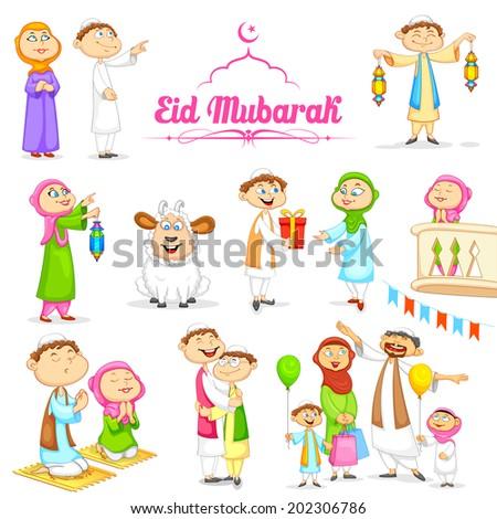 illustration of muslim people celebrating Eid - stock vector