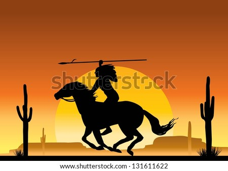 Illustration of native american indian silhouette, vector - stock vector