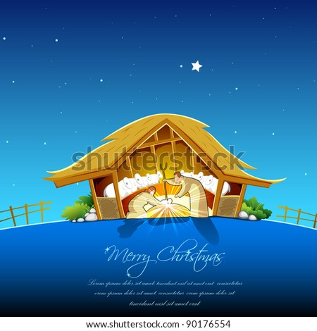 illustration of nativity scene showing birth of Jesus - stock vector