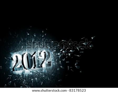 illustration of new year 2012 in the broken glass, copyspace - stock vector