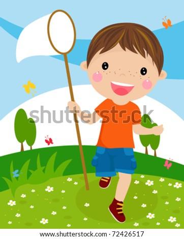 мальчик ловит бабочек рисунок