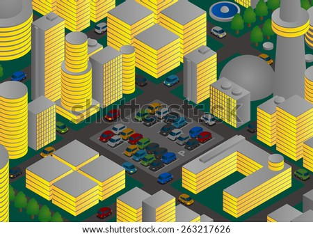 Illustration of night city, parking and vehicles - stock vector